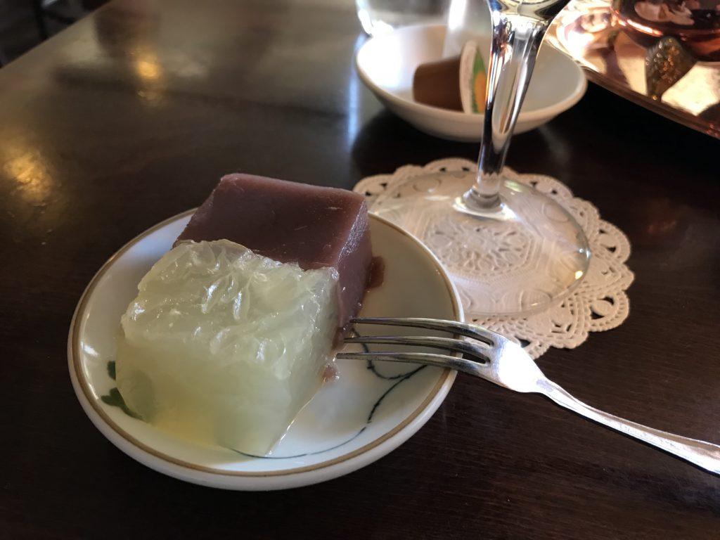 羊羹とグレープフルーツゼリー